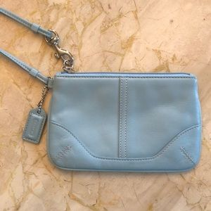 Authentic Baby Blue Coach Wristlet